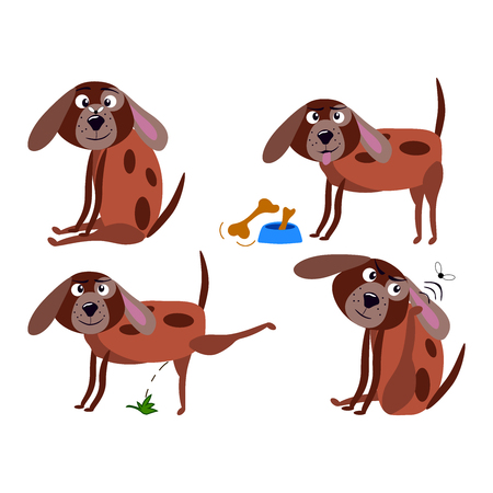 Set of dogs cartoon character, cute dog on white background, cartoon concept, funny cartoon dog in action. Vector