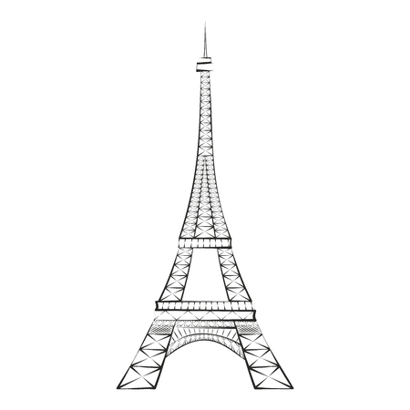 Black silhouette Eiffel Tower, Paris, isolated on white background. Eiffel tower sign. Eiffel tower icon. Symbol of Paris and France. Design flat element. Vector illustration