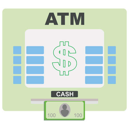 ATM flat icon. Automated teller machine sign. Cash sign. Vector illustration