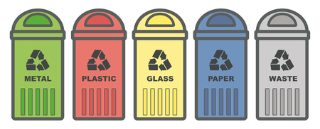 Set garbage icon. Waste, five colorful recycle bin icon melal, glass, paper, plastic. Flat design. Wastebasket. Container bin management and recycle concept. Isolated vector illustrations