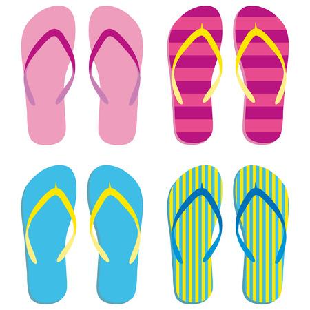 Icono de conjunto de chanclas de colores. Icono de zapatillas. Aislado azul, rosa, amarillo a rayas sobre fondo blanco. Ilustración vectorial Ilustración de vector