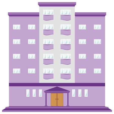 Colorful building icon, sign, simbol. Bright houses purple, violet, lilac colour, beautiful architecture for office, hotel. Vector illustration AI10. Vettoriali