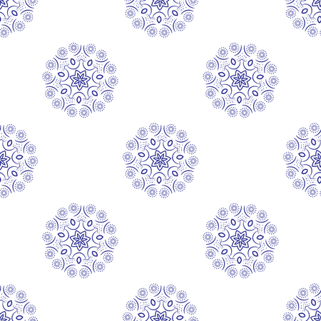 Floral seamless pattern. Mandala flower decorative elements. Ethnic abstract ornament. Oriental style background. Blue flowers on white background monochrome. Minimal flower pattern.