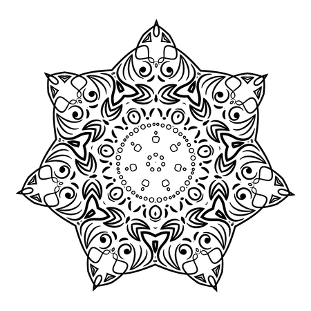 Motif de fleurs de mandala. Élément circulaire décoratif. Motif floral vintage minimal. Ornement abstrait ethnique. Fleur noire sur fond blanc. Flocon de neige vintage. Vecteurs