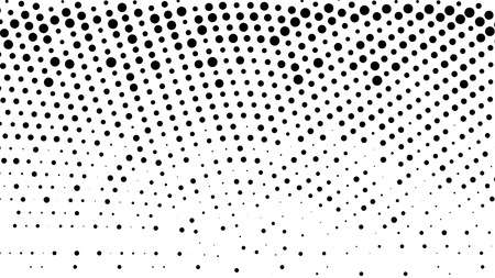 Gradient halftone background. Black white random grunge dots texture. Pop Art circle comic pattern. Abstract radial geometric vector pattern. Template for presentation flyer, business cards, stickers