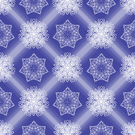 Winter blue background with snowflakes seamless pattern. Christmas seamless pattern. Mandala flower decorative elements. White snowflakes on blue background. Vintage vector snow patern.