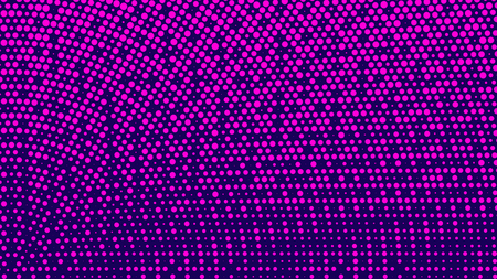Halftone pattern. Horizontal vector illustration. Pink dots, blue halftone texture. Color halftone radial gradient. Pop Art blue pink circle comics Background. Grunge Bright neon Dots Background.