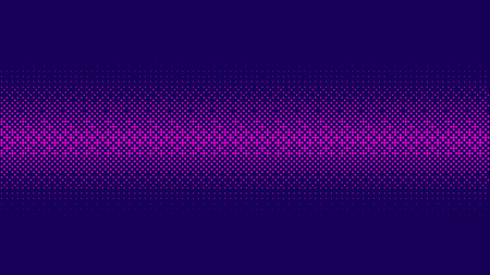 Gradient halftone pattern horizontal vector illustration. Pink dots, blue halftone texture. Bright Color halftone. Ornament pattern. Neon Blue pink purple dots Background. Background of Art. Vectores