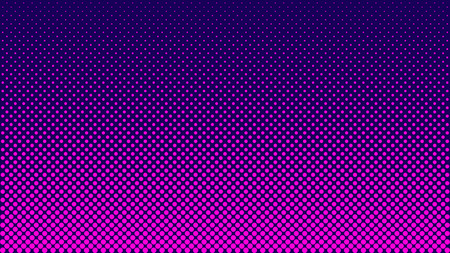 Halbtonmuster. Horizontale Vektorillustration. Rosa Punkte, blaue Halbtonstruktur. Farbhalbtonverlauf. Pop-Art-blauer rosa Comic-Hintergrund. Heller Neonpunkt-Hintergrund.