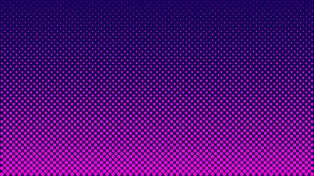 Modello mezzitoni. Illustrazione vettoriale orizzontale. Puntini rosa, texture mezzitoni blu. Gradiente di semitono di colore. Sfondo di fumetti rosa blu Pop Art. Sfondo di punti al neon luminosi.