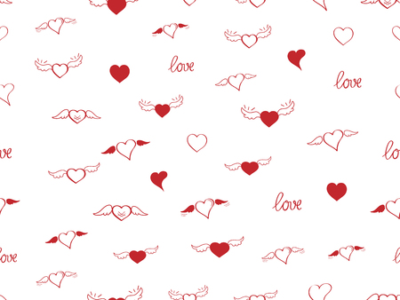 Seamless pattern with heart. Hand drown sketch hearts with wings and love. Happy Valentines day background. Heart and love background. Red love heart on white background. Vector design greeting card
