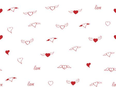 Nahtloses Muster mit Herzen. Hand ertrinken Skizzenherzen mit Flügeln und Liebe. Happy Valentinstag Hintergrund. Herz und Liebeshintergrund. Rotes Liebesherz auf weißem Hintergrund. Vektor-Design-Grußkarte