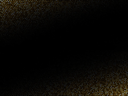 Golden shiny halftone effect pattern. Gold glitter dots texture. Dots pop art background. Yellow brown dots on black Background. Random color gradient vector, gold ornament. Abstract design element