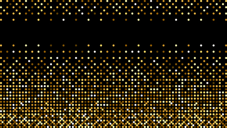 Golden fabric texture. Golden shiny halftone pattern. Gold glitter dots background. Yellow brown dots on black Background. Random color gradient vector, gold ornament. Abstract design element.