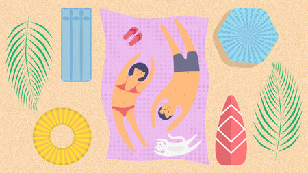 Summer holidays. Summer time. Young people relaxing and sunbathe on the beach. Happy family with a cat. Summer vacation. Flat modern design. Retro style. Sea vacation. Young man and woman. Vector Stock Illustratie