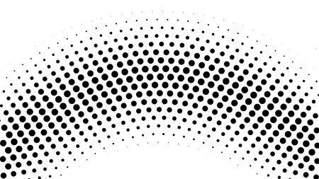 Halftone gradient pattern. Abstract halftone dots background. Monochrome dots pattern. Pop Art, Comic small dots. Radial twisted circle. Banner with space. Design for presentation, report, flyer, card Illustration