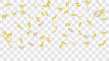 Golden confetti. Festive background. Falling shiny confetti. Golden confetti background. Vector golden design elements. Festive tinsel. Template for holiday card, banner, solemn presentation, mockup.