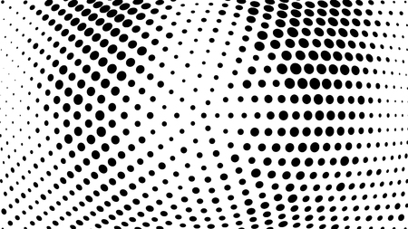 Halftone gradient pattern. Abstract halftone dots background. Monochrome dots pattern. Vector halftone texture. Grunge texture. Pop Art, Comic small dots. 3d sphere, Wave twisted dots. Design elements Vetores