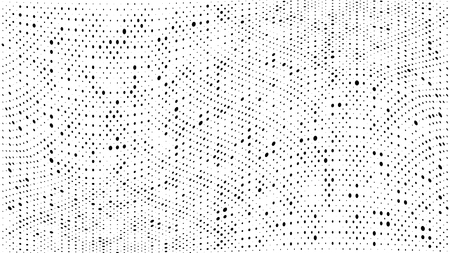 Halftone gradient pattern. Abstract halftone dots background. Monochrome dots pattern. Grunge dirty texture. Vector halftone texture. Wave twisted dots. Pop Art, Comic small dots. Design elements Illustration