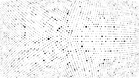 Halftone gradient pattern. Abstract halftone dots background. Monochrome dots pattern. Grunge dirty texture. Vector halftone texture. Wave twisted dots. Pop Art, Comic small dots. 3d sphere