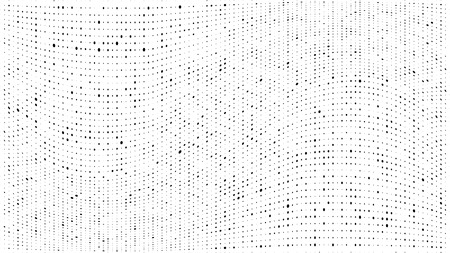 Halftone gradient pattern. Abstract halftone dots background. Monochrome dots pattern. Grunge dirty texture. Vector halftone texture. Wave twisted dots. Pop Art, Comic small dots. Design elements