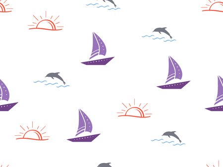Marine, ship, sun, summer seamless pattern. Yachts, sailboat, boats, dolphins, cute doodle baby elements. Sea summer background. Childish background for fabric, baby clothes, Hand drown elements