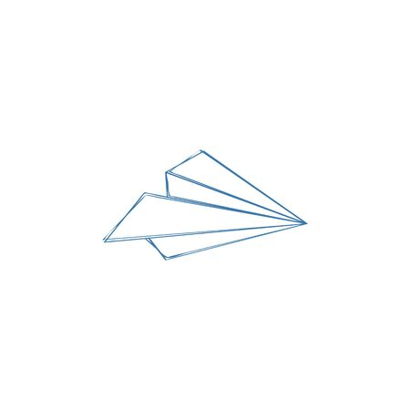Paper airplane icon. Send, submit, upload sign, outline symbol. Aircraft, flying machine. Hand drawn, sketch design. Blue airplane. Paper plane travel, delivery concept.