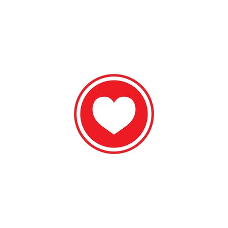 Heart icon. Like icon. Follow icon. Red heart in circle. Follow sign for social networks.