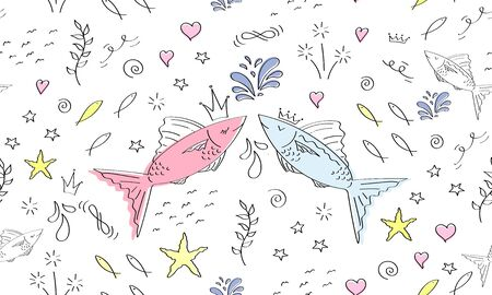 Cute fish seamless pattern. Hand drawn sea pattern. Greeting card Happy Valentine's Day. Doodle, sketch modern design. Pisces zodiac signs. Print for children prince and princess.