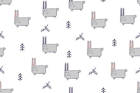 Seamless pattern, childish animals illustration. Cute bunny, funny hare on white. Kawaii cartoon character. Baby scandinavian vector pattern. Hand drawn illustratin for kids fabric, textile, wrapping