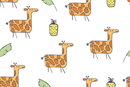 Seamless pattern, childish African animals illustration. Cute giraffes, funny giraffe on white. Cartoon character. Baby scandinavian vector pattern. Hand drawn illustratin for kids fabric, textile Illustration