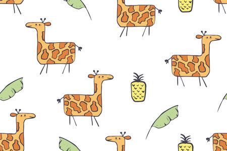 Seamless pattern, childish African animals illustration. Cute giraffes, funny giraffe on white. Cartoon character. Baby Scandinavian vector pattern. Hand drawn illustration for kids fabric, textile