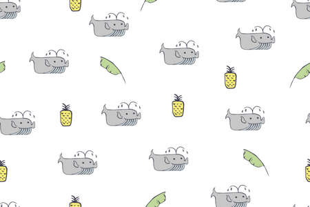 Seamless pattern, childish African animals illustration. Cute whale, funny whale on white. Cartoon character. Baby scandinavian vector pattern. Hand drawn illustration for kids fabric, textile