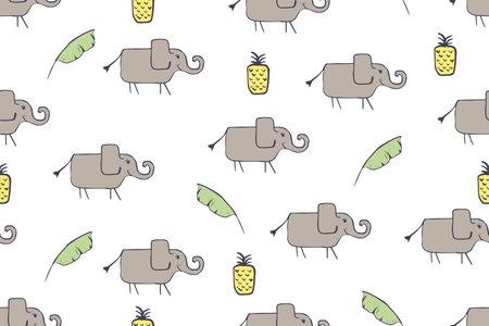 Seamless pattern, childish African animals illustration. Cute elephant, funny elephant on white. Cartoon character. Baby scandinavian vector pattern. Hand drawn illustratin for kids fabric, textile Illustration