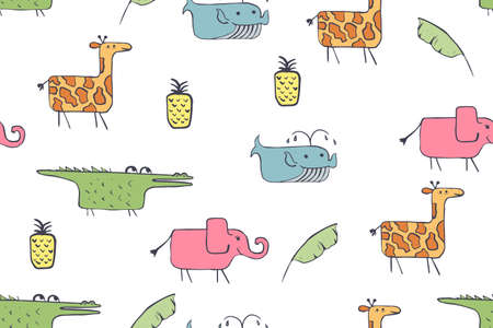 Seamless pattern, childish African animals illustration. Cute pink elephant, funny whale on white. Cartoon character. Baby scandinavian vector pattern. Hand drawn illustratin for kids fabric, textile Illustration