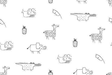 Seamless pattern, childish African animals illustration. Cute crocodile, funny giraffe on white. Cartoon character. Baby scandinavian vector pattern. Hand drawn illustratin for kids fabric, textile