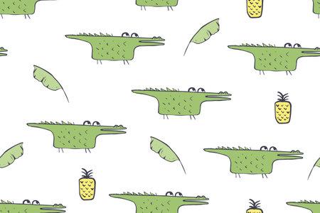 Seamless pattern, childish African animals illustration. Cute crocodile, funny alligator on white. Cartoon character. Baby scandinavian vector pattern. Hand drawn illustratin for kids fabric, textile
