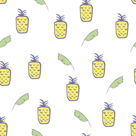 Pineapples seamless pattern. Hand draw tropical exotic fruit pineapple background in pastel colors on a white backdrop. Vector illustration for fabric, textile, wrapping