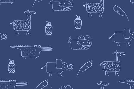 Seamless pattern, childish African animals illustration. Cute elephant, funny whale, croc on blue. Cartoon character. Baby scandinavian vector pattern. Hand drawn illustratin for kids fabric, textile