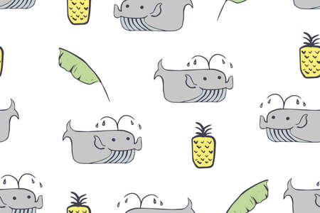 Seamless pattern, childish African animals illustration. Cute whale, funny whale on white. Cartoon character. Baby scandinavian vector pattern. Hand drawn illustratin for kids fabric, textile