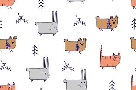 Seamless pattern, childish animals illustration. Cute cat, funny bear, rabbit on white. Kawaii cartoon character. Baby scandinavian vector pattern. Hand drawn illustratin for kids fabric, textile