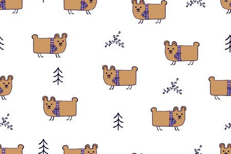 Seamless pattern, childish animals illustration. Cute bear, funny bear on white. Kawaii cartoon character. Baby scandinavian vector pattern. Hand drawn illustratin for kids fabric, textile, wrapping