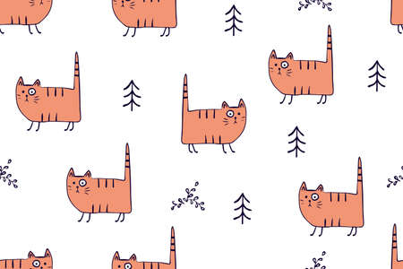 Seamless pattern, childish animals illustration. Cute cat, funny kitty on white. Kawaii cartoon character. Baby scandinavian vector pattern. Hand drawn illustratin for kids fabric, textile, wrapping