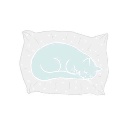 Cute sleeping cat on the pillow. Baby doodle. Cartoon character blue cat, childish illustration. Hand drawn vector illustration, kids fabric, textile, children's packaging, baby pattern Illustration