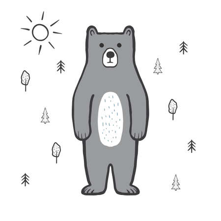 Cute bear in the forest, sun. Doodle, sketch, childish illustration. Cartoon character of a gray bear. Hand drawn children's print, vector illustration for packaging, fabric, textile. Childishly drawn