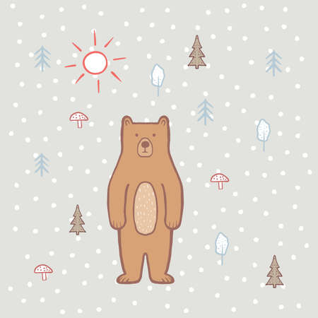 Cute bear in the forest with sun. Color illustration for children, for kids. Vector, hand draw, bear cartoon character. Baby pattern. Children's print on fabric, textiles, packaging