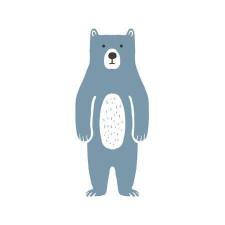 Cute bear. Funny bear outline coloring page for kids. Doodle, sketch cartoon character of a bear. Hand drawn children's print, vector illustration for packaging, fabric, textile. Childishly drawn.