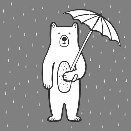 Cute bear with umbrella. Rain. Doodle, sketch, childish illustration. Cartoon character of a bear. Hand drawn children's print, vector outline for packaging, fabric, textile. Childishly drawn Illustration