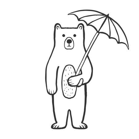 Cute bear with umbrella outline coloring page for kids. Doodle, sketch cartoon character of a bear. Hand drawn children's print, vector illustration for packaging, fabric, textile. Childishly drawn.