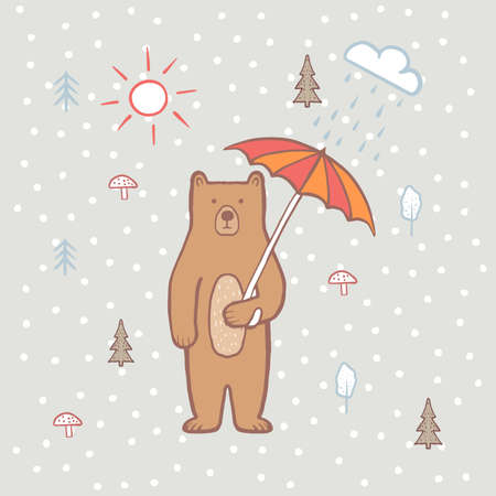 Cute bear in the forest with umbrella. Rain and sun. Color illustration for children, for kids. Vector, hand draw, bear cartoon character. Baby pattern. Children's print on fabric, textiles, packaging